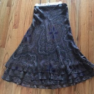LAUREN by Ralph Lauren paisley tiered silk skirt